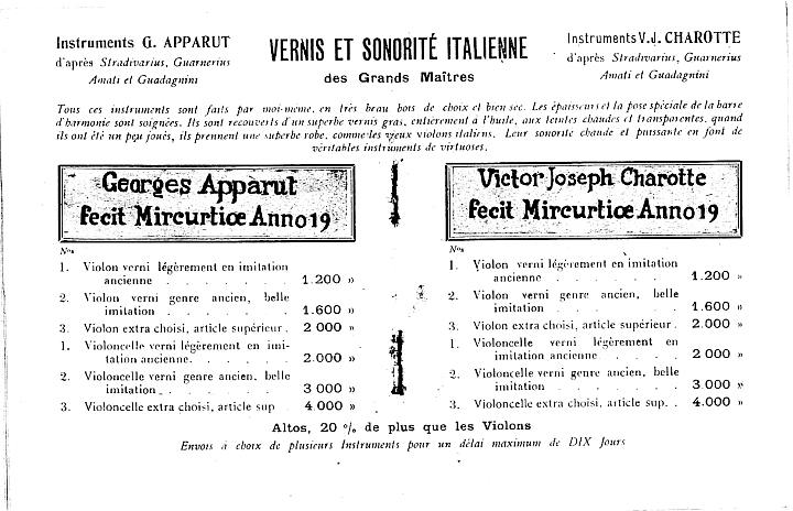 Catalogue Georges Apparut de 1925.