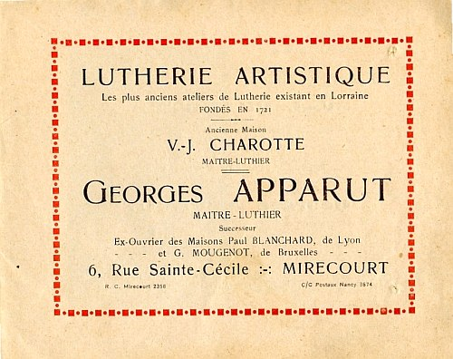 Catalogue Georges Apparut à Mirecourt.