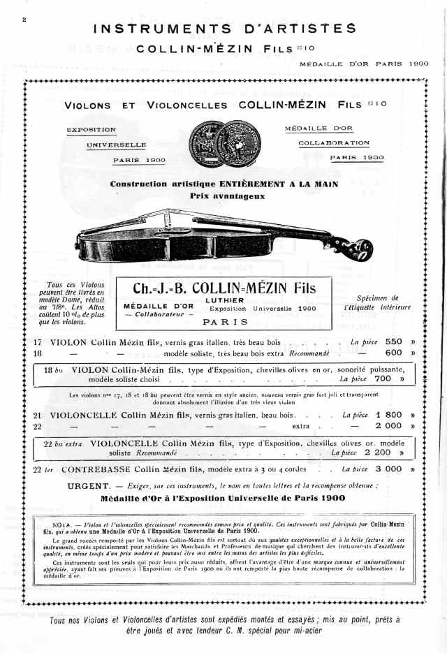 Catalogue Collin-Mézin de 1936.