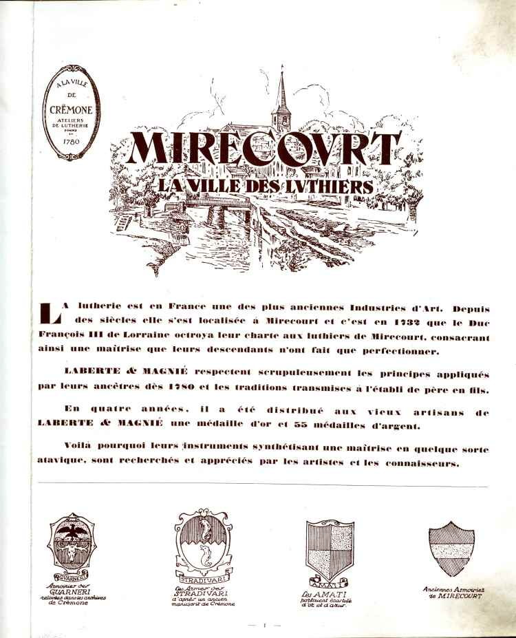 Catalogue de lutherie Laberte et Magnié 1931.