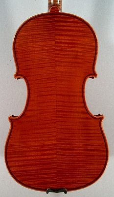 back of a new violin made by Roland Terrier.